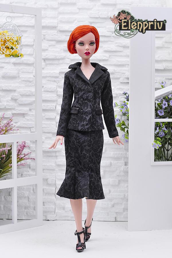 9146869e55 Black jacquard godet skirt for Tonner Deja Vu dolls and similar body size  dolls