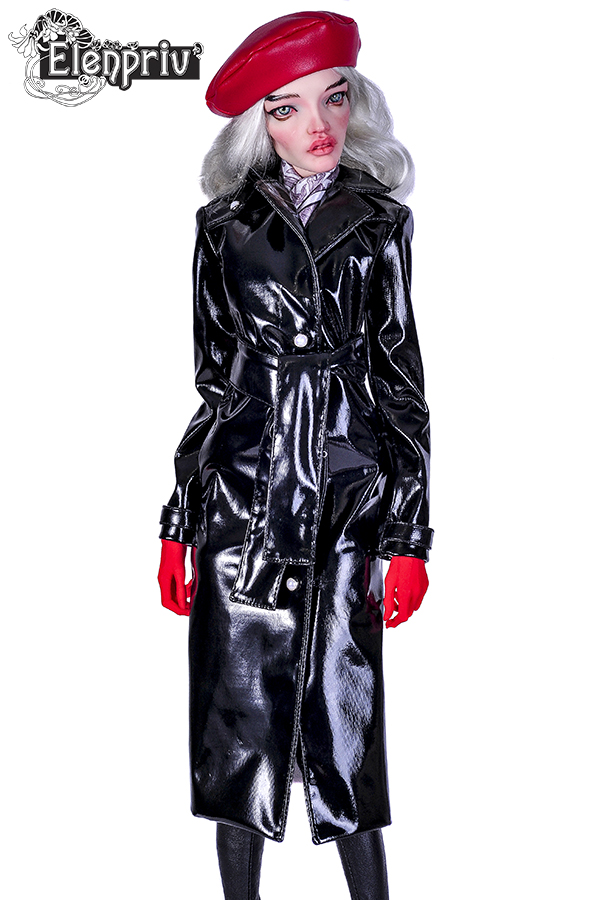 b3ddd42acae6 Black patent leather trench coat with wide belt and full lining for  PashaPasha dolls