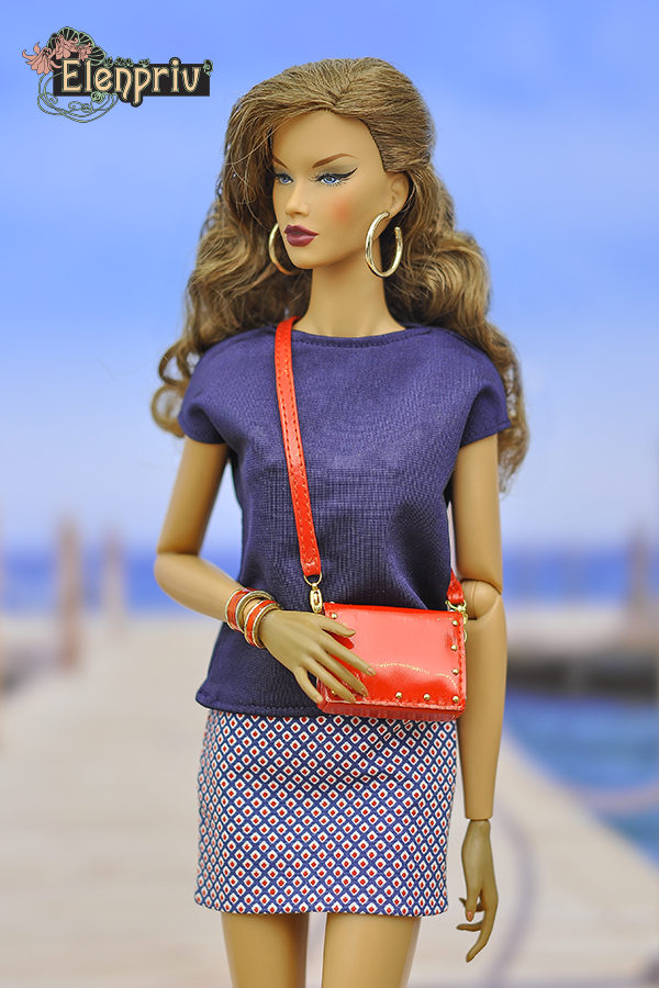 RED PLAID mini skirt  for Barbie doll