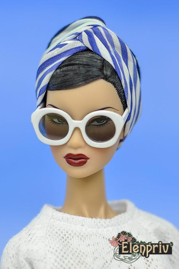 Poppy Parker Silkstone ELENPRIV mimosa printed silk headscarf for Fashion Royalty FR2 Barbie Color Infusion Momoko dolls