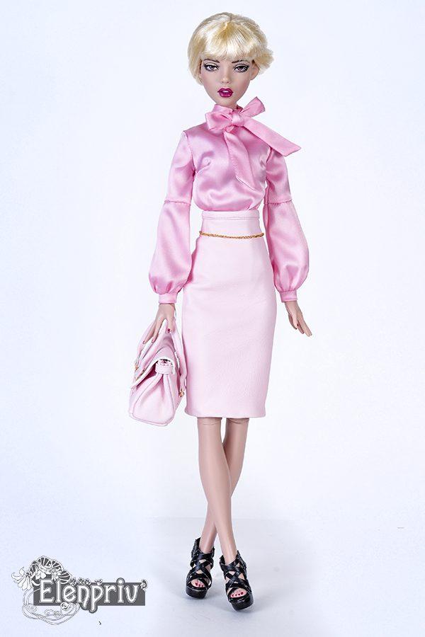 fa78c29bdd Pink leather pencil skirt for Tonner Deja Vu dolls and similar body size  dolls