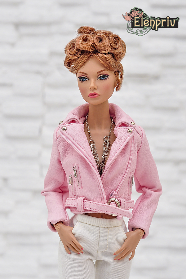 81081b5f13 Pale pink leather jacket for Poppy Parker and similar body size dolls