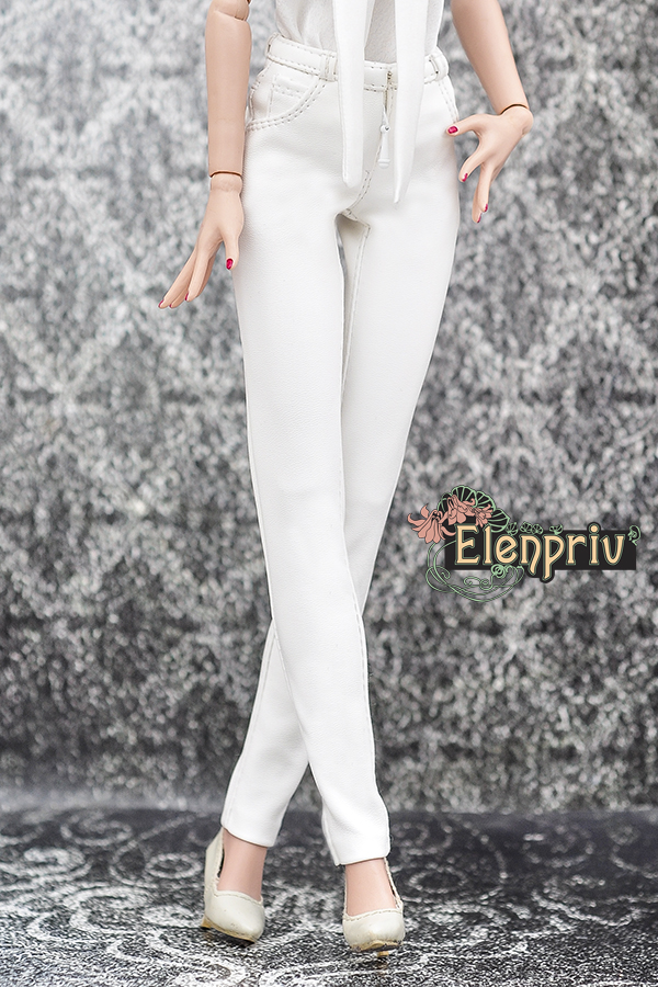 06a4958bd5 White leather pants for Tonner Deja Vu dolls and similar body size dolls
