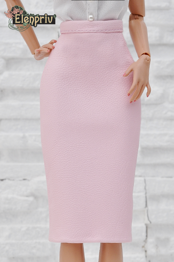 fa1902120c Pale pink leather pencil skirt for Poppy Parker doll and similar body size  dolls