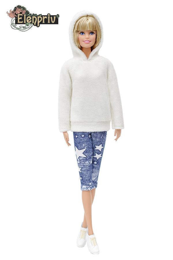 ELENPRIV FA003 gray velour hoodie capri w//stars full outfit for Barbie dolls