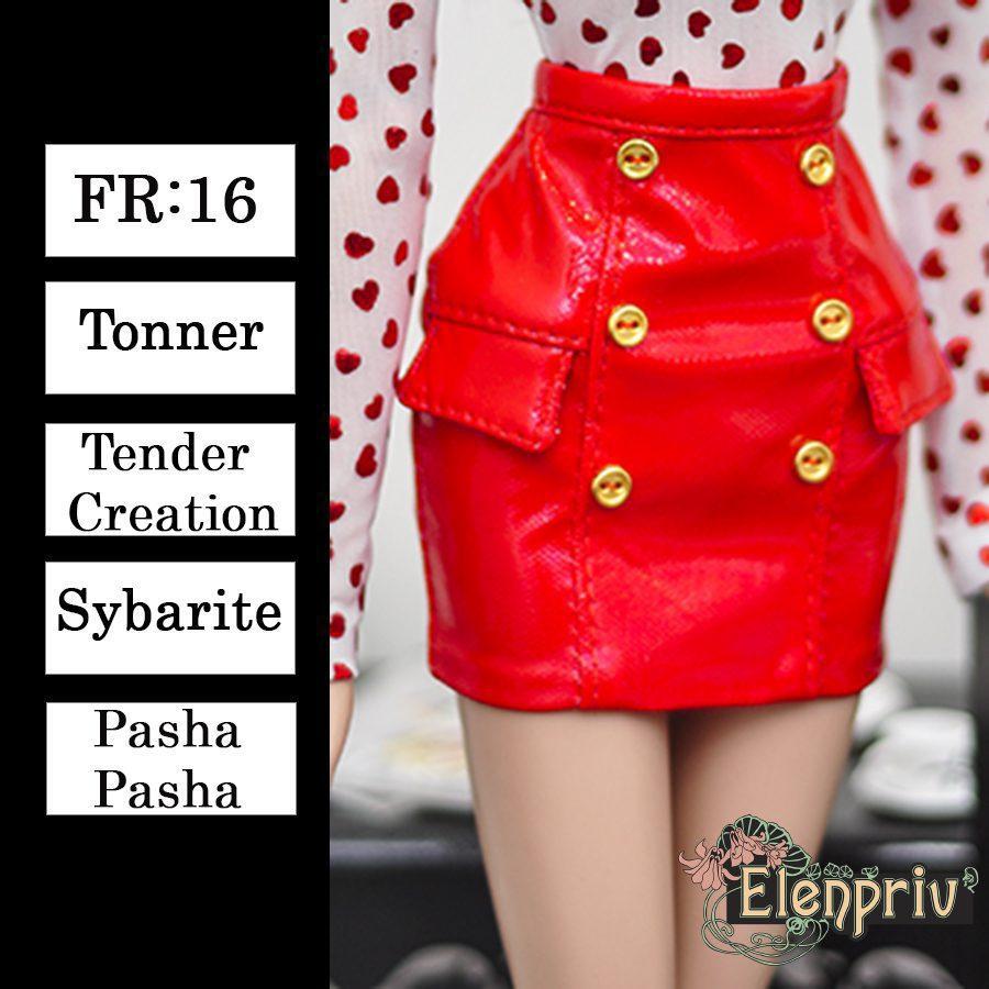 81d5e1cd61 ELENPRIV red pleather mini skirt {Choose size} Fashion royalty FR:16  Sybarite Tonner PashaPasha Tender Creation 16″ dolls