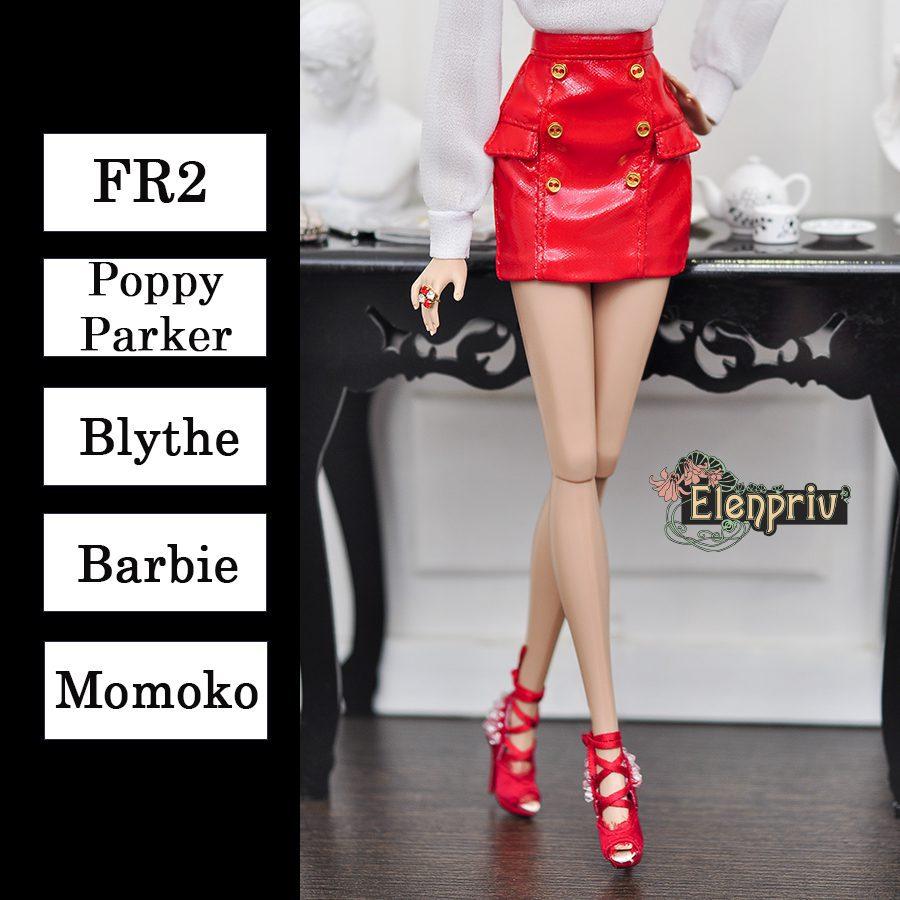 95c2d66241 ELENPRIV red pleather mini skirt {Choose size} Fashion royalty FR2 Poppy  Parker Blythe Barbie Silkstone Curvy Momoko dolls