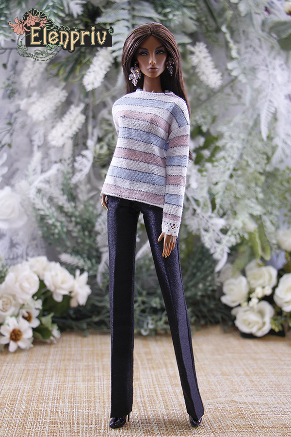 ELENPRIV striped drop shoulder pullover with lace for Fashion Royalty FR2 dolls