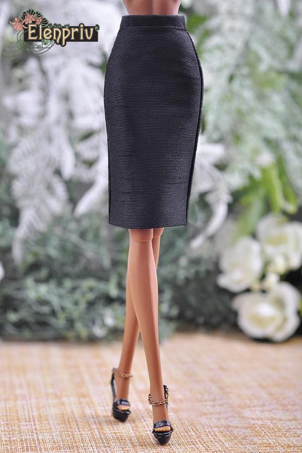 ELENPRIV black silk mini skirt w//lining for Fashion Royalty FR2 and similar doll