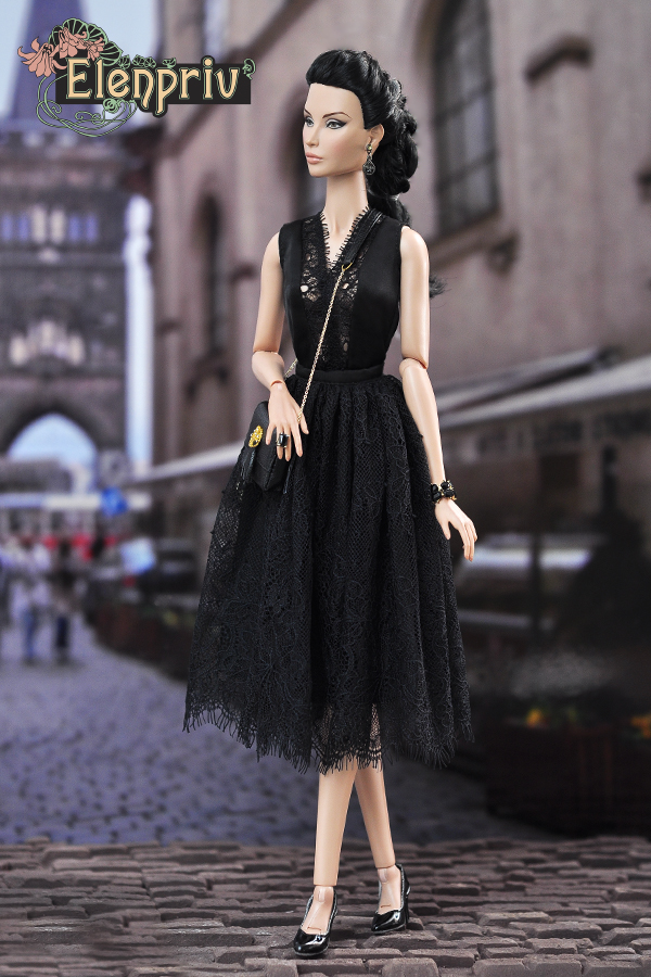 ELENPRIV black silk midi A-siluet skirt with lace for Fashion royalty FR2 dolls