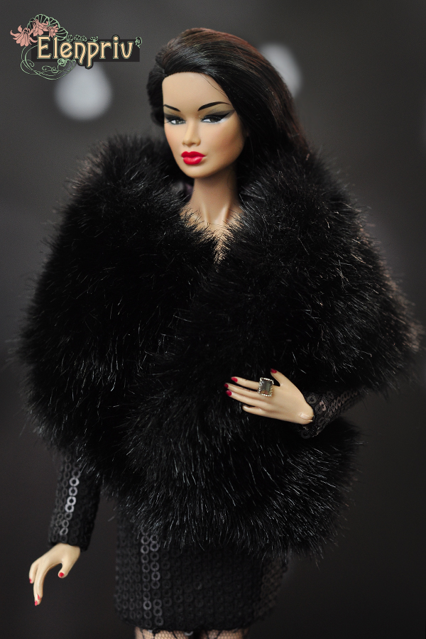 "ELENPRIV white faux fur stole with lining for Fashion Royalty FR2 12/"" dolls"
