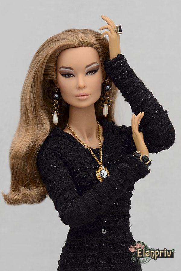 "ELENPRIV black midi dress w//long sleeves for Fashion royalty FR:16 doll 16/"""