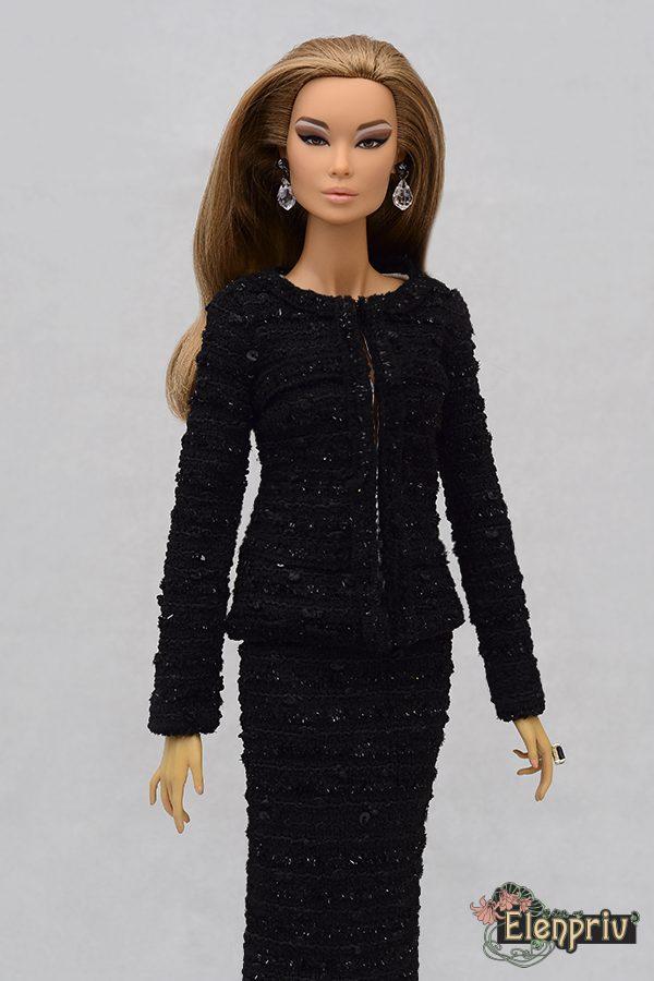 ELENPRIV leopard suede pencil skirt wlining {Choose size} Fashion royalty FR:16 Sybarite Tonner Tyler PashaPasha Tender Creation dolls