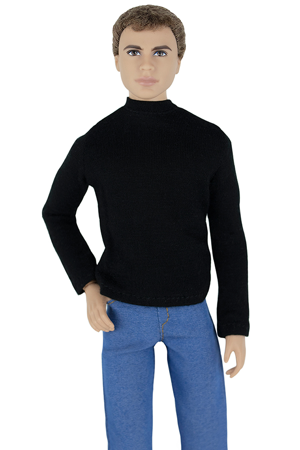 ELENPRIV FA-016-01 black T-shirt w//long sleeves for Ken Fashionista similar doll