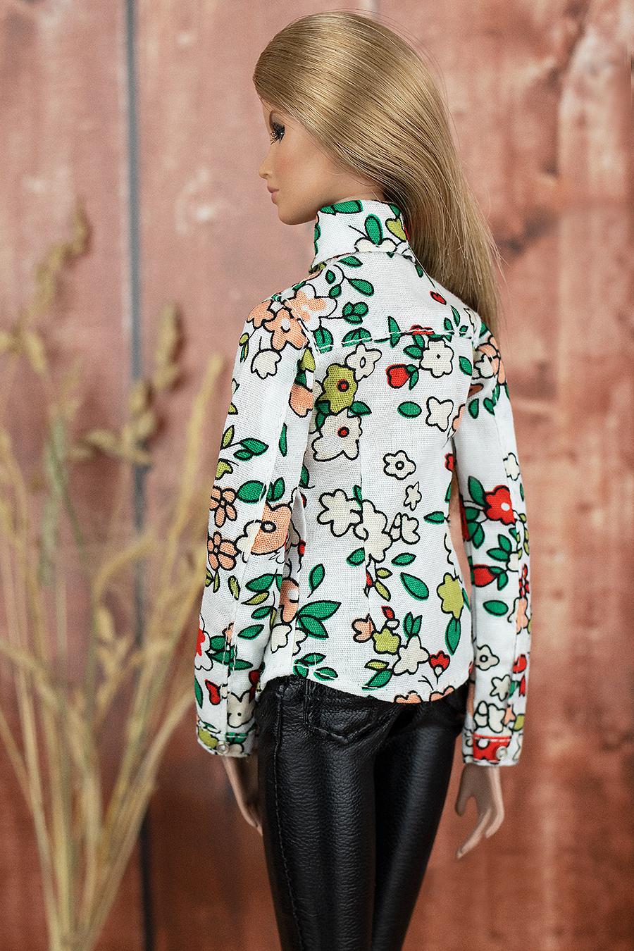 "ELENPRIV floral printed shirt #002 for Fashion Royalty FR2 12/"" and similar dolls"