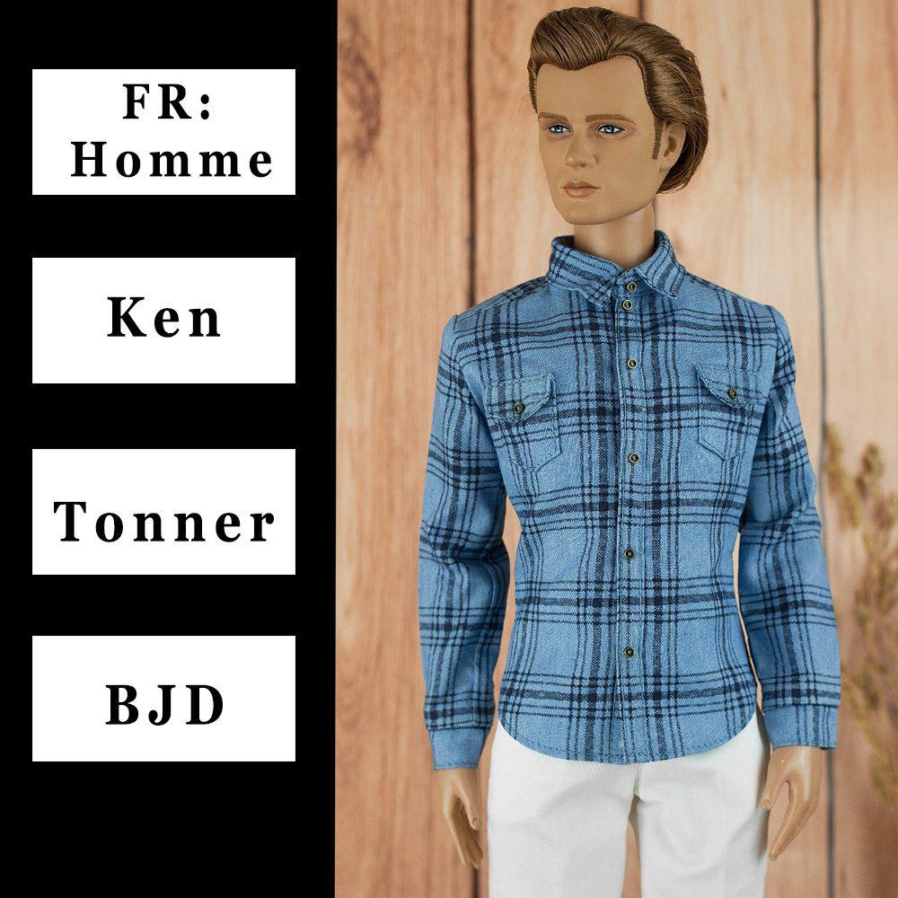 """ELENPRIV striped long sleeved shirt for 16/"""" Tonner Homme Matt O/'Neill body dolls"""